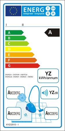 Vacuum cleaners new energy rating graph label Vector
