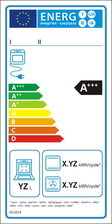 Electric oven new energy rating graph label Vector