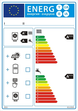 Combination heater, temperature control and solar device new energy rating graph label Vector