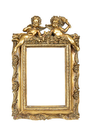 Gold picture frame with angels isolated over white photo