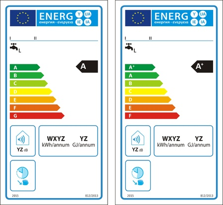 Conventional water heaters new energy rating graph label Vector