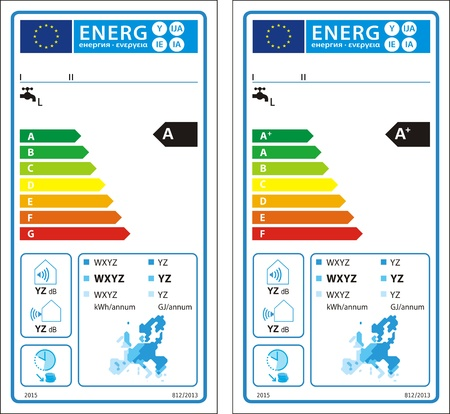 Herkömmliche Wasserbereiter Neue Energie Rating-Diagramm Label ...