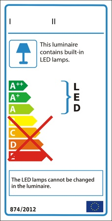 Energetic label for luminaire containing only non-replaceable LED modules. Vector
