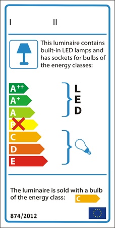 Energetic label for luminaire containing both non-replaceable LED modules and sockets for user-replaceable lamps, with lamps included. Vector