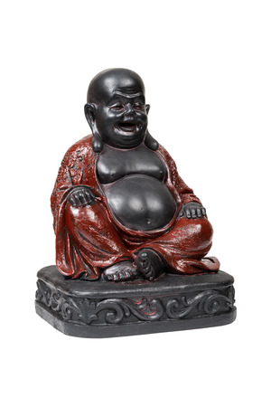 Black smiling Buddha isolated over white with clipping path. photo