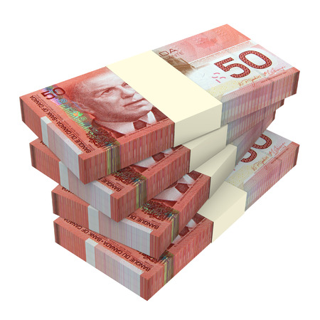canadian cash: Canadian dollars money isolated on white background. Computer generated 3D photo rendering. Stock Photo