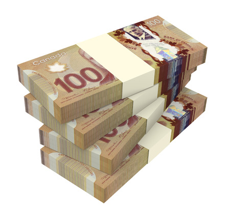 Dollars de l'argent canadien isolé sur fond blanc. Photo générée par ordinateur 3D rendu.