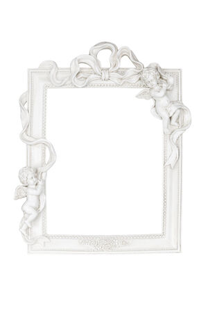White picture frame with angels isolated over white photo