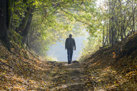 A man walking along a forest path in autumn photo