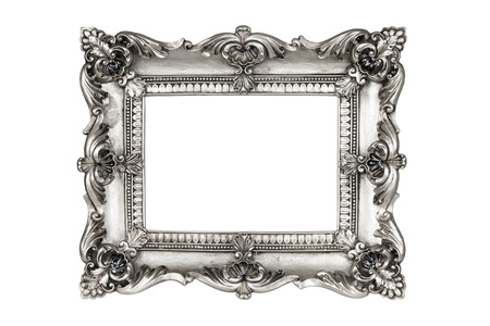 antique frame: Old antique silver picture frames. Isolated on white background