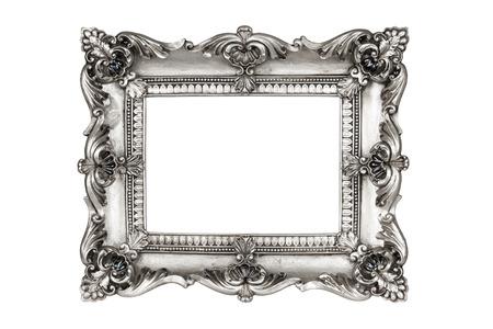 marcos decorativos: Viejos marcos antiguos de plata. Aislado en el fondo blanco
