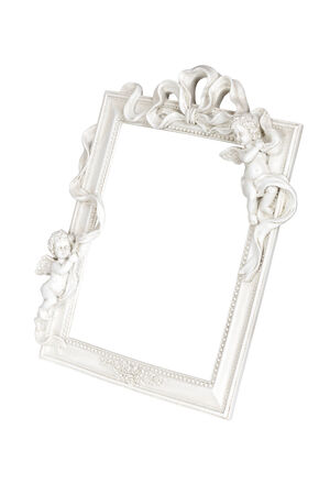 White picture frame with angels isolated over white, clipping path. photo