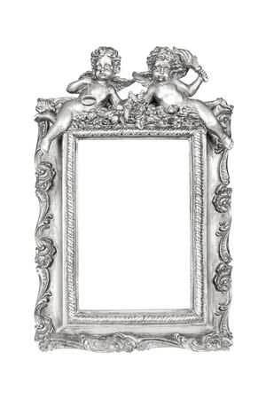 Silver picture frame with angels isolated over white, clipping path. photo