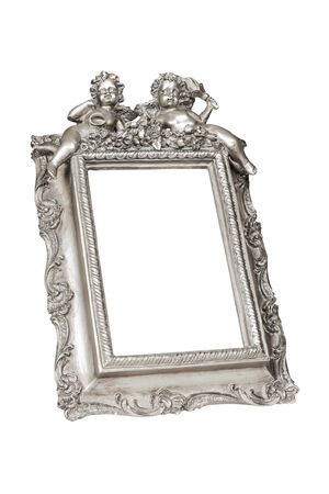 Silver picture frame with angels isolated over white,  photo