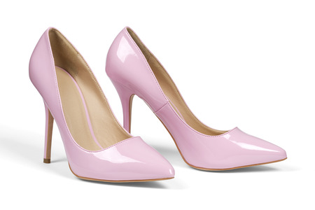 A pair of pink women heel shoes isolated over white with clipping path. Zdjęcie Seryjne