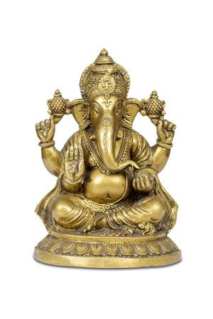 Estatuilla del dios hindú de la sabiduría, el conocimiento y nuevos comienzos Ganesha aislado con trazado de recorte.