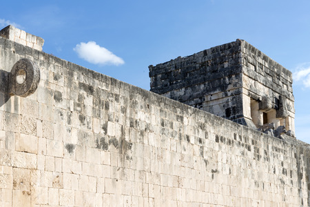 pre columbian: A view of part of the archaeological complex Chichen Itza, one of the most visited sites in Mexico. It is one of new 7 wonders in the world. Stock Photo