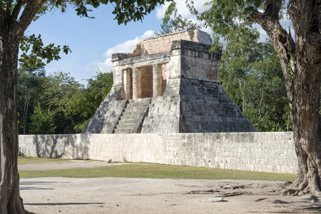 archaeological complex: A view of part of the archaeological complex Chichen Itza, one of the most visited sites in Mexico. It is one of new 7 wonders in the world. Stock Photo
