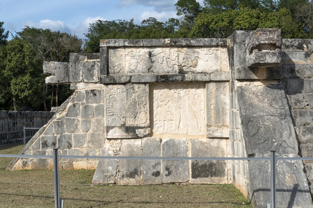 archaeological complex: Relief on the wall of the archaeological complex Chichen Itza, one of the most visited sites in Mexico.