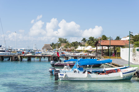 gulf of mexico: View of the port on 21 January 2015 in Isla Mujeres, Mexico. The island is located 8 miles east of Cancun in the Gulf of Mexico. Editorial