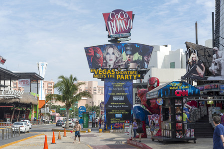 View of the Coco Bongo club on Main Street on 22 January 2015 in Cancun, Mexico. In this street is a lot of clubs and restaurants for tourists from all over the world..