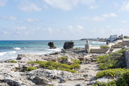 gulf of mexico: View of the east coast Isla Mujeres, Mexico. The island is located 8 miles east of Cancun in the Gulf of Mexico. Stock Photo