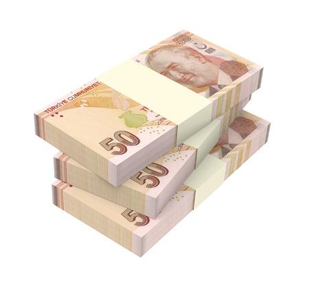 lira: Turkish lira isolated on white background. Computer generated 3D photo rendering. Stock Photo