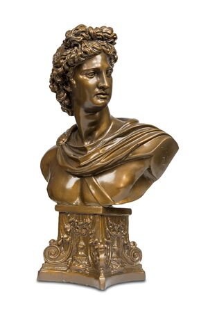 Bust sculpture of Phoebus Apollo isolated over white with clipping path. Stock Photo