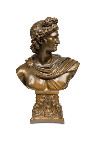 bust: Bust sculpture of Phoebus Apollo isolated over white