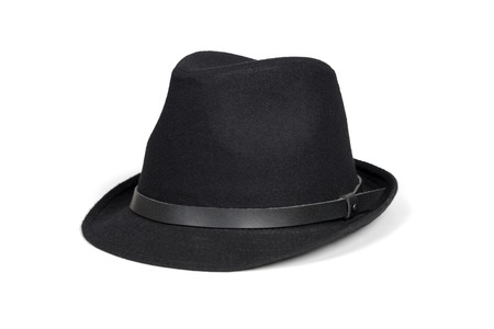 fedora hat: Black fashion hat isolated on white with clipping path. Stock Photo