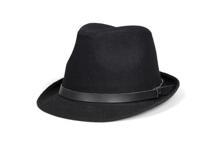 hombre con sombrero: Sombrero de la manera Negro aislado en blanco con saturaci�n camino. Foto de archivo