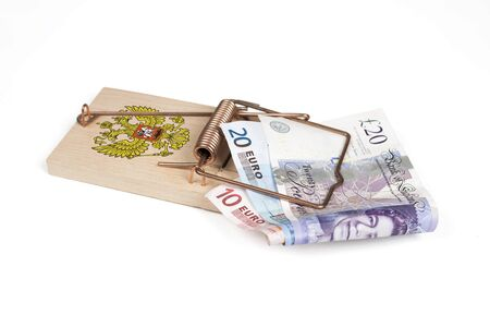 mouse trap: Russian mouse trap with Euro and Pound bills isolated over white with clipping path.