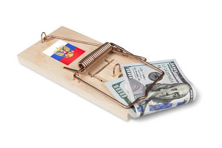 wastage: Russian mouse trap with dollar bill isolated over white with clipping path.