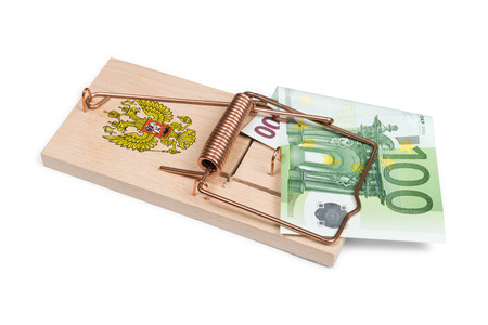 wastage: Russian mouse trap with Euro bill isolated over white with clipping path.