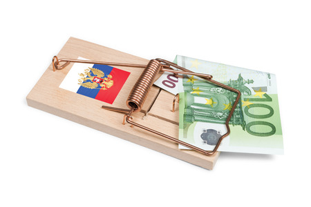 euro bill: Russian mouse trap with Euro bill isolated over white with clipping path.