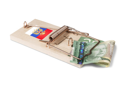 canadian dollar: Russian mouse trap with Canadian dollar bill isolated over white with clipping path.