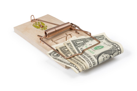 mouse trap: Russian mouse trap with dollar bills isolated over white with clipping path.
