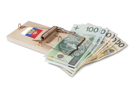 mouse trap: Russian mouse trap with Polish zloty bill