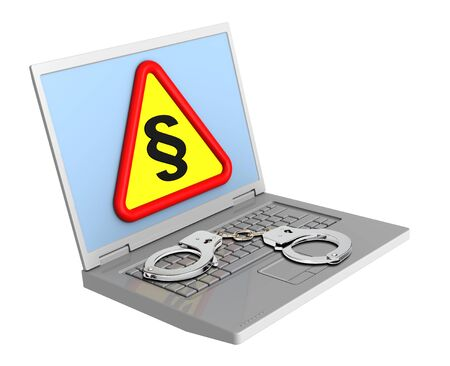 Laptop with paragraph sign and handcuffs isolated on white. photo