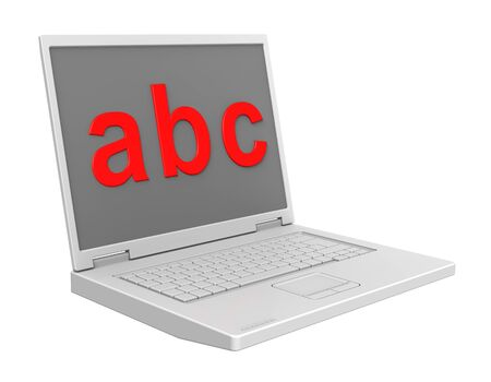 basic letters: Laptop with ABC letters on the screen isolated over white. Stock Photo