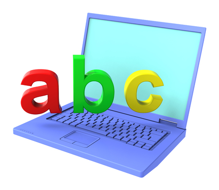 e reader: Laptop with ABC letters isolated over white. Computer generated 3D photo rendering.