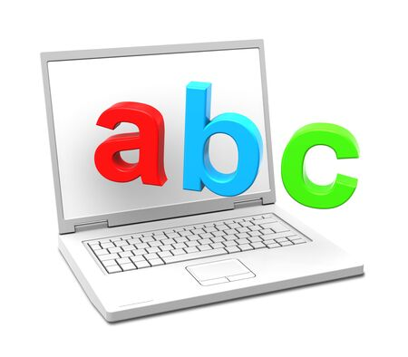 screen type: Laptop with ABC letters isolated over white. Computer generated 3D photo rendering.