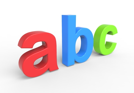alphabetical order: Abc text isolated over white. Computer generated 3D photo rendering.