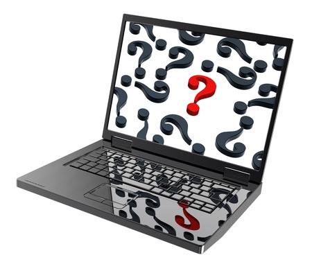 point d interrogation: Ordinateur portable avec des points d'interrogation sur l'�cran isol� sur blanc. Photo g�n�r�e par ordinateur rendu 3D. Banque d'images