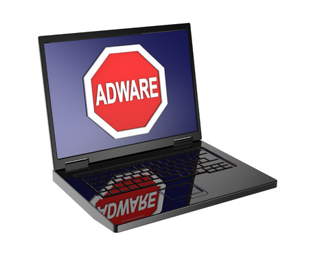 adware: Adware warning sign on laptop screen. Computer generated 3D photo rendering.