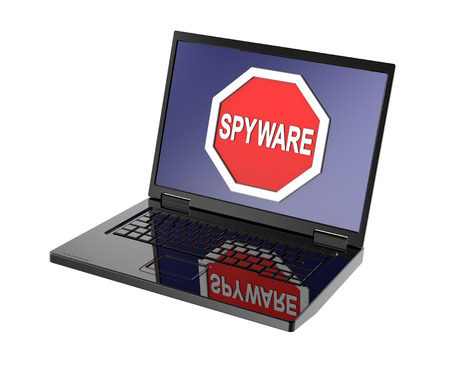 Spyware warning sign on laptop screen. Computer generated 3D photo rendering. photo