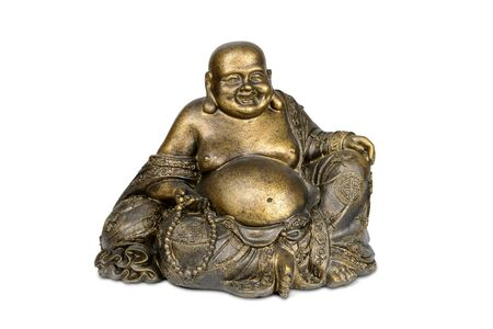 smiling buddha: Smiling Buddha brass figurine on white background with clipping path.