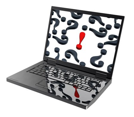 exclamation point: Laptop with question marks and red exclamation point on the screen isolated over white. Computer generated 3D photo rendering.