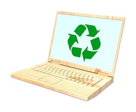 recyclable: Wooden recyclable laptop isolated over white. Computer generated 3D photo rendering.