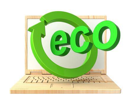reciclable: Port�til reciclable de madera aislada sobre blanco. Ordenador de la foto 3D.